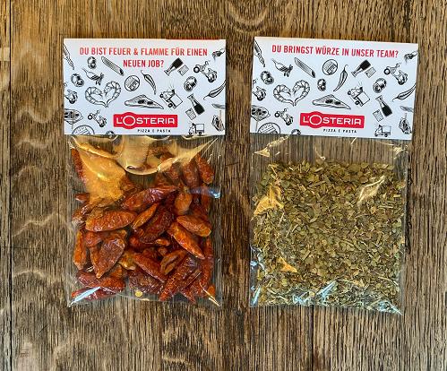Gewürzpäckchen für das Personalmarketing von L'Osteria